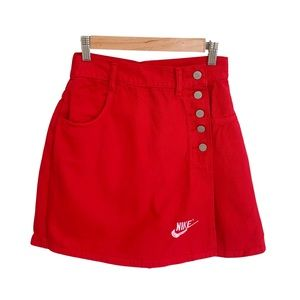 NIKE Vintage Style Denim Button Skort Red Size S